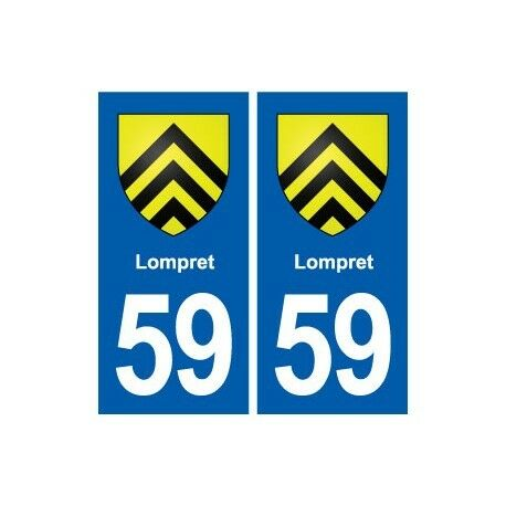 59 Lompret blason autocollant plaque stickers ville -  Angles : droits