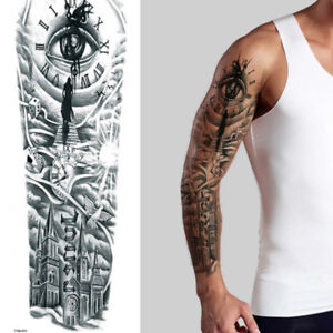 Details About Angels Roses Skull Black Full Arm Temporary Tattoo Sleeve Body Sticker Halloween