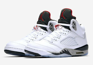 Image is loading Nike-Air-Jordan-Retro-5-V-White-Cement-
