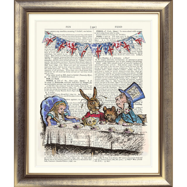 ART PRINT ON ORIGINAL ANTIQUE BOOK PAGE Alice in Wonderland Mad Hatter tea Party