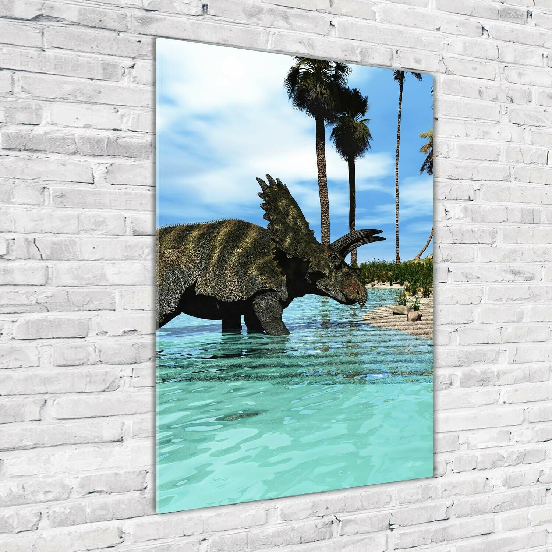 Wandbild Kunst-Druck auf Hart-Glas hochkant 70x100 Dinosaurier Strand