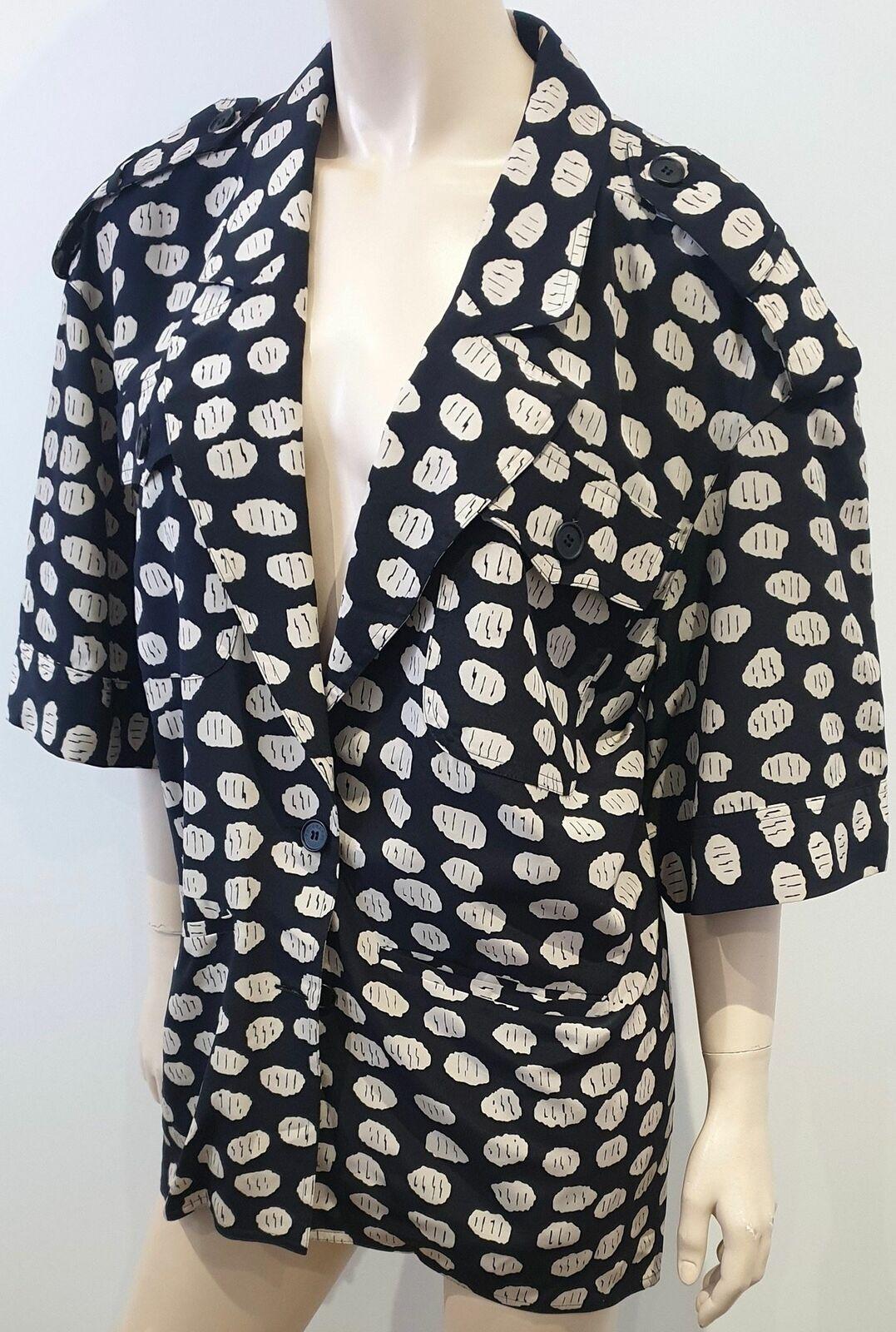 Impresión geométrica TRUSSARDI Negro Crema Seda Cuello  en V Manga corta chaqueta Blazer 44  Nuevos productos de artículos novedosos.