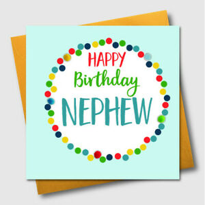 Image Is Loading Birthday Greeting Card Happy Nephew POM039 Pompom