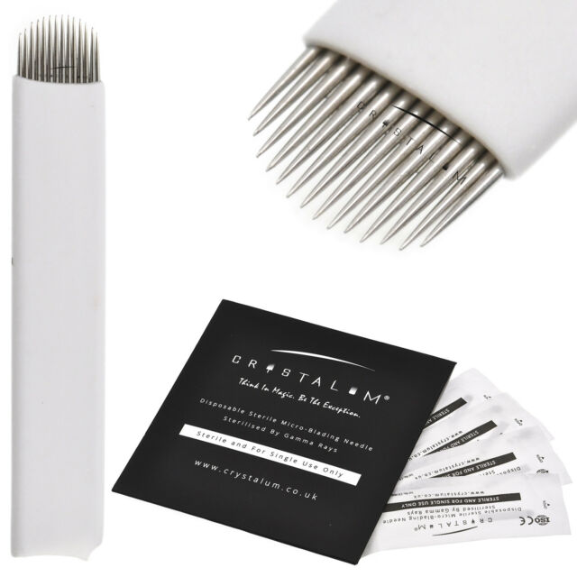 Microblading Needles 16 Pin Blades Eyebrow Tattoo Manual Disposable Crystalum Eyebrow Liner & Definition