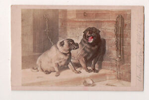 Vintage-CDV-Album-Filler-2-Dogs-on-A-Leash-Bulldog-Pug