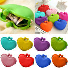 Women Girl Lady Candy Color Silicone Heart Wallet Key Coin Purse Rubber Case