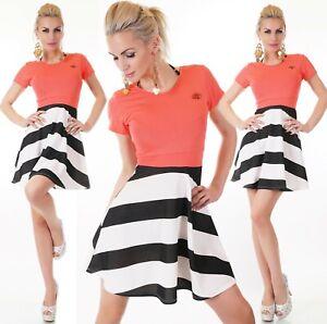 ITALY Damen Sommer Mini Kleid Shirtkleid A-Linie Koralle ...