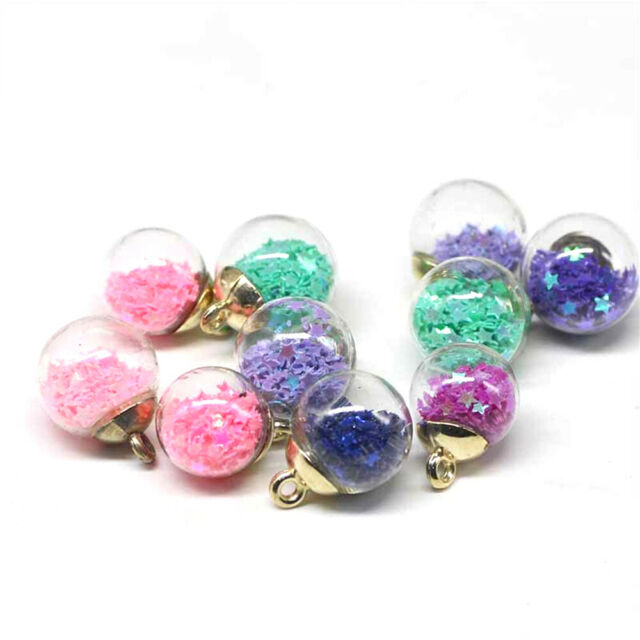 8Pcs DIY Jewelry Elegant Star Glass Ball Beads For Making Accessories Pendant