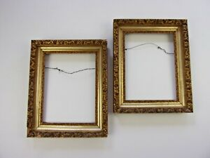 Antique-Gold-Lemon-Gilt-Frame-PAIR-Victorian-Gilded-Ornate-Carved-GESSO-Painting