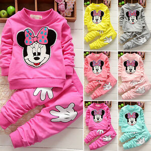 Ensembles-de-vetements-enfants-bebe-filles-Minnie-Mouse-Sweatshirt-pantalon-haut