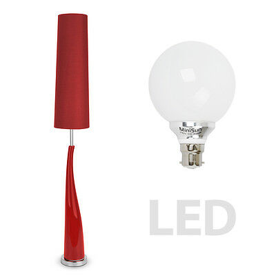 Modern LED Red Ceramic  Chrome Floor Standing Standard Lamp Light Lamps