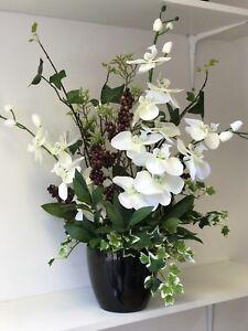 eBay & Details about Artificial Flower Arrangement Ivory Orchid Berry Display Black Vase