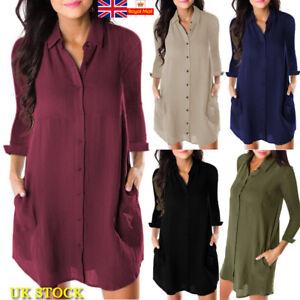 Women-Long-Sleeve-Plain-Tunic-T-Shirt-Dress-Ladies-V-Neck-Button-Down-Blouse-Top