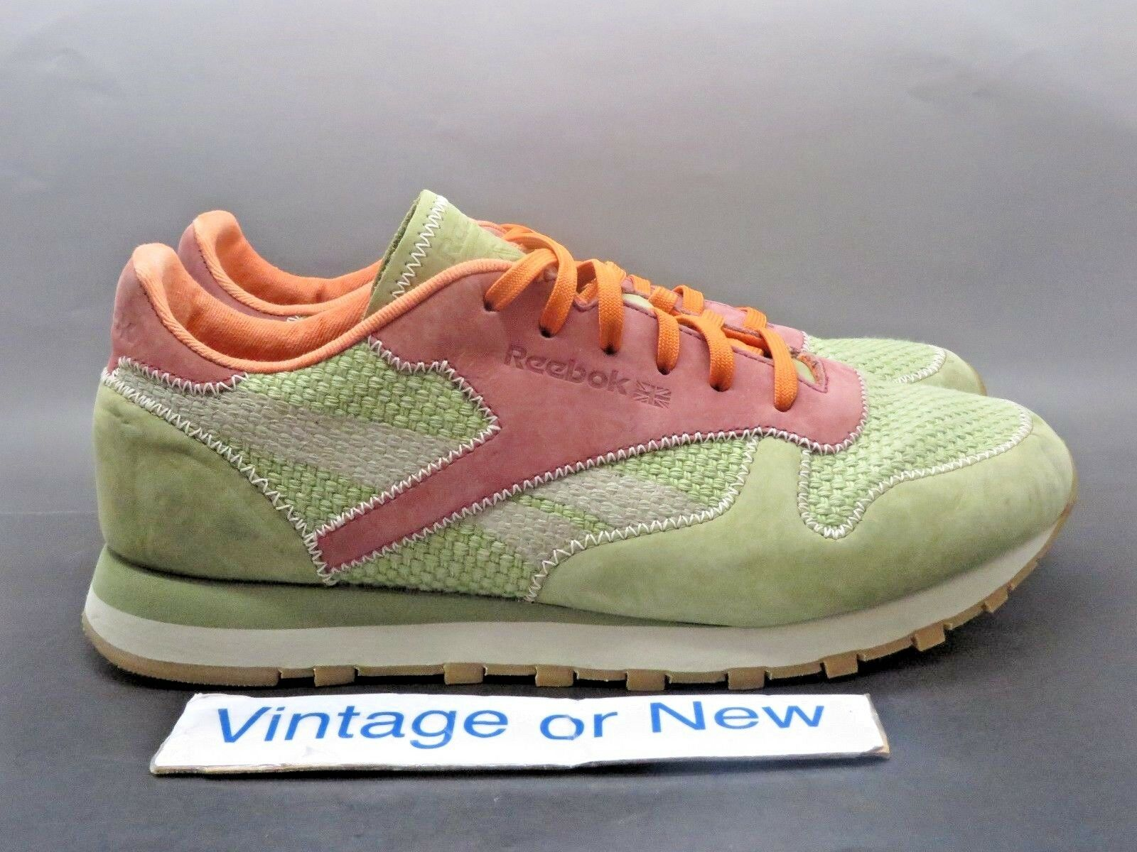 Women's Reebok Classic Hemp Light Olive Green Orange Casual Shoes sz 9.5