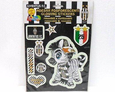 """Compiacente Juventus - """"8 Adesivi Fosforescenti Rimovibili E Riutilizzabili"""" - Cm. 24 X 34 Diversificato Nell'Imballaggio"""