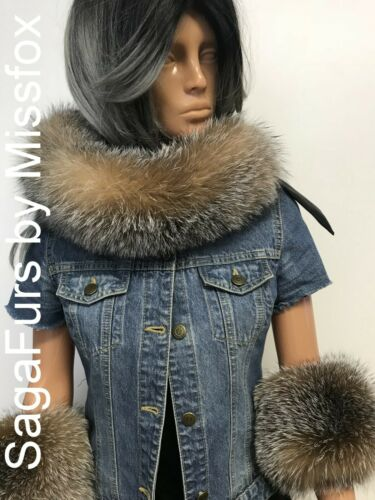 Real Amber Fox fur scarf or cuffs SagaFox.