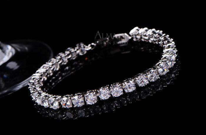 5.00Ct Diamond Tennis Bracelet 6.5  1 Row Round Diamonds 14K White gold Toned