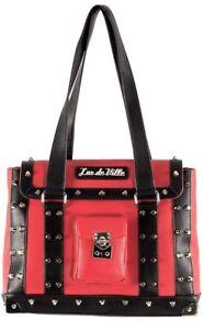 Lux-De-Ville-Mini-Weekender-Bag-Matte-Red-and-Black-Studded-Retro-Pinup
