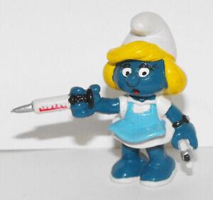 Nurse-Smurfette-Figure-20139-Vintage-1981-Hospital-Smurf-2-inch-Plastic-Figurine