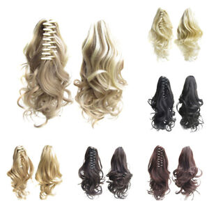Curly-Wavy-Clip-In-Pony-Tail-Hair-Extension-Claw-Clip-On-Ponytail-Hairpiece-40cm