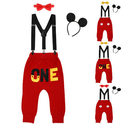Mickey Mouse 1st Birthday Outfit.Newborn Baby Boys 1st Birthday Mickey Mouse Suspenders Long Pants Outfit Clothes Ebay