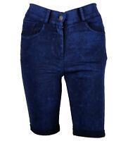Ladies Navy Blue Skinny Slim Fit Jeans Knee Length Denim Hot Pants Summer Shorts