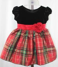 c34bd67cbdfef Bonnie Baby Girls Black Red Green Plaid Christmas Holiday Dress Size 18  months