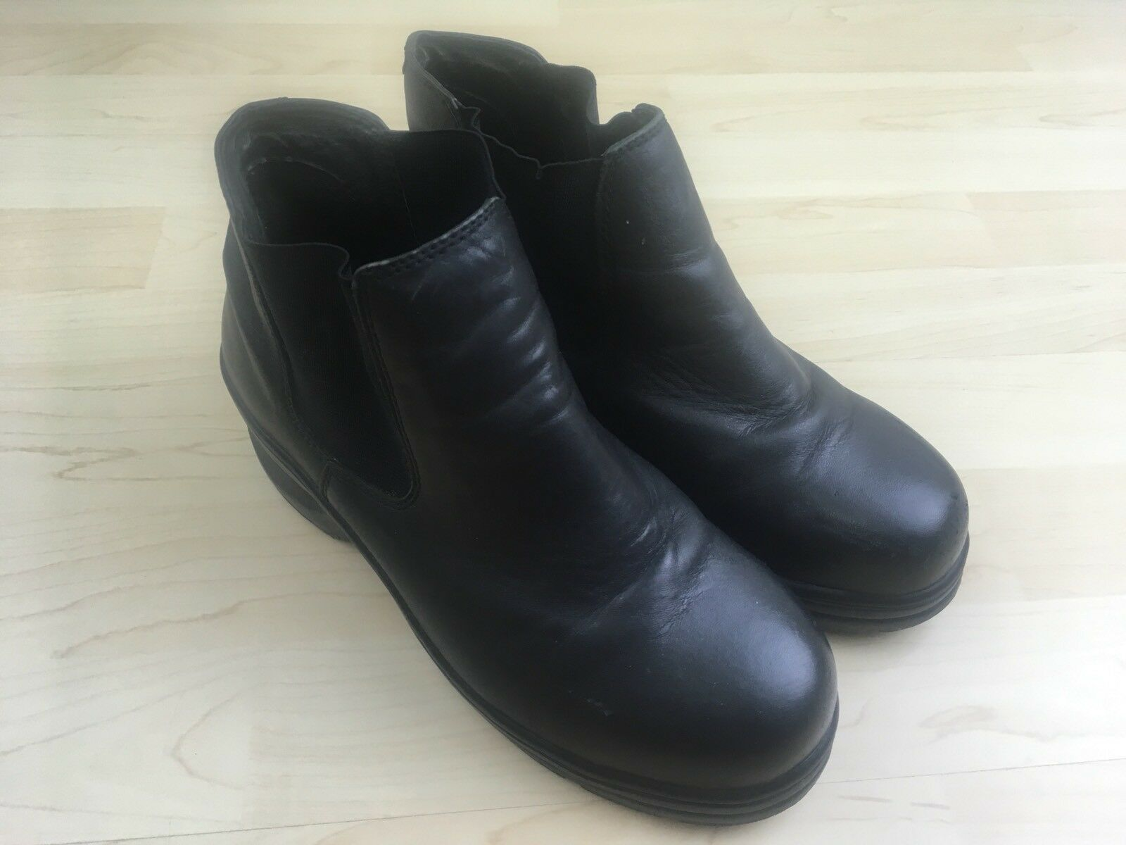 IRON AGE Men's Size 8 W Wide Ankle Boots Black STEEL TOE WORK 443 ANSI 241 PT 99