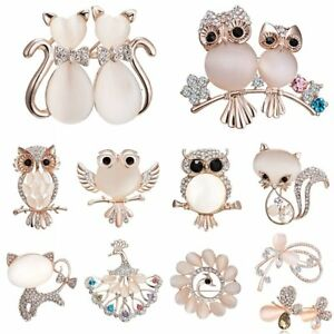 Fashion-Owl-Cat-Butterfly-Animal-Crystal-Brooch-Pin-Women-Costume-Wedding-Gifts