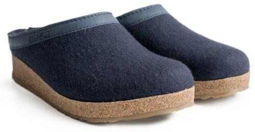 HAFLINGER TORBEN GRAPHIT GREY BLUE TORF SLIPPERS WOOL MEN MAN PANTOUFLES LAINE