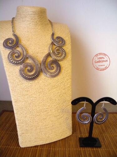 Collana Girocollo e Orecchini a Spirale Greek-Roman Style Argentata e Dorata Top