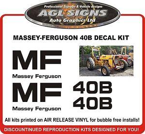 MASSEY FERGUSON 40B TRACTOR DECAL SET   reproduction  MF 40B