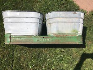 Vintage Pair Galvanized Metal Wash Tubs W Stand Larg Square Beer