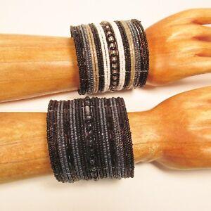 Set-of-2-Black-White-Wide-Bling-Boho-Cuff-Handmade-Bracelets-Bali-Seed-Bead