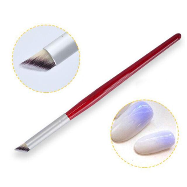 1Pc Nail Art Gradient  Dye Brush Wood Handle Angle Nail Brush Tool
