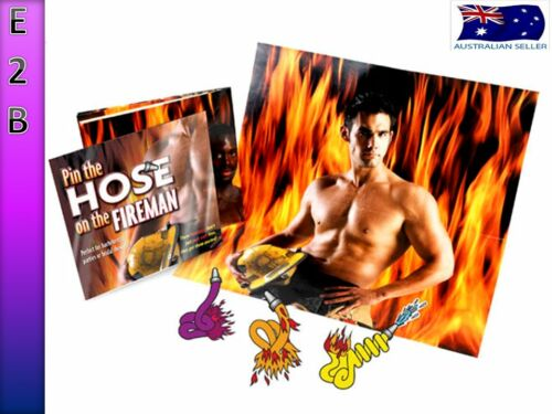 ADULT PIN THE HOSE ON THE FIREMAN BACHELORETTE HENS NIGHT PARTY GAME MACHO