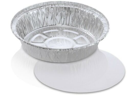 """7/"""" Round Aluminum Foil Take-Out Food Pan w//Board Lid Combo 200 PK Disposable"""