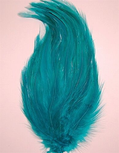 6 Pcs HACKLE FEATHER PAD JADE GREEN New Pads; Headband//Hats//Bridal//Craft//Dress