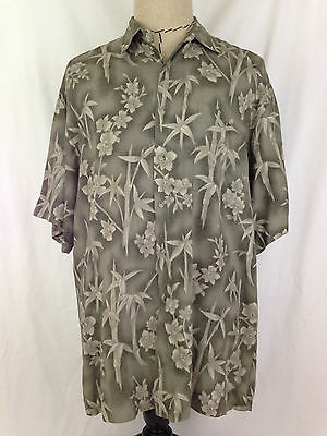 Pierre Cardin Mens Hawaiian Shirt L Size Green Floral Short Slv Beach Camp Rayon