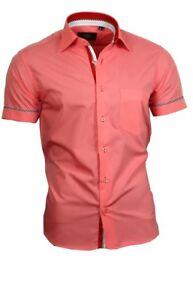 Hemd-Herrenhemd-mit-Brusttasche-Kurzarm-Shirt-Binder-de-Luxe-lachs-apricot-84004