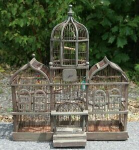 Beautiful-Vintage-Antique-Bird-Cage-Aviary-Wood-Wire-Victorian