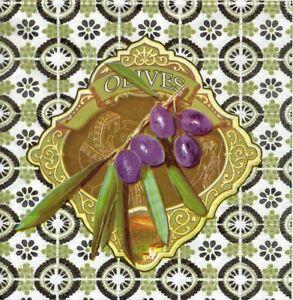 Audacieux Lot De 2 Serviettes En Papier Olives Mosaique Decoupage Collage Decopatch