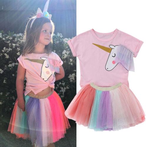 Girls Unicorn Tops T-Shirt Lace Tutu Skirt Sets Outfit Clothes Kids Party Dress