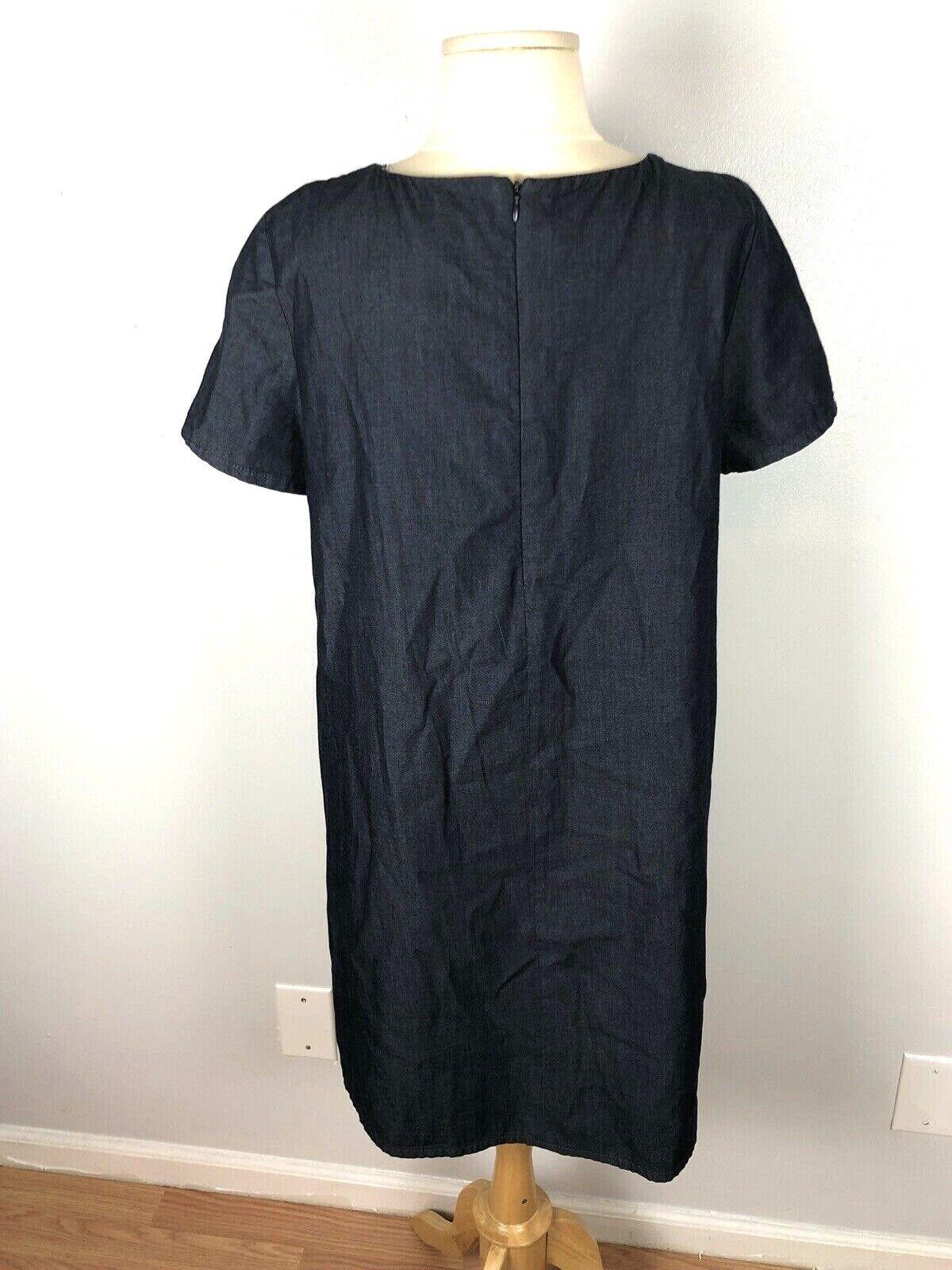 Zara Basic Denim Dark Wash Swing Dress, Size L - image 5