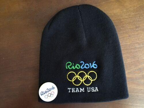 RIO 2016 OLYMPIC BEANIE TEAM USA  BEANIE BLACK WITH 1 FREE BUTTON