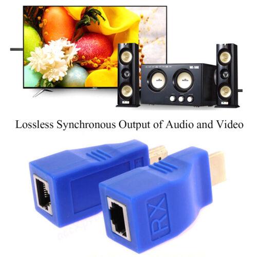 30M HDMI 1080P Extender Over Ethernet Adapter LAN Sender+Receiver CAT5e CAT6 HOT