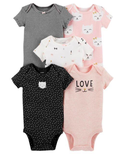 a5e6f5808 Carter's Baby Girls 5-pack Original Short Sleeve Bodysuits Cat 6 ...