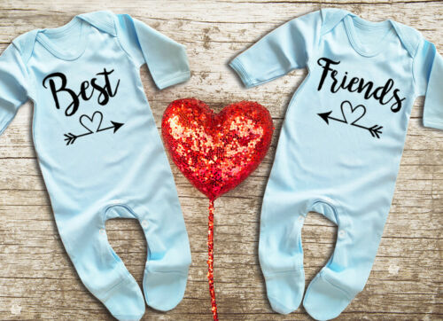 Best Friends Twins blue rompersuit sleepsuit bodysuit Set For twin baby boys