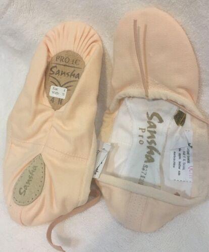 Sansha Canvas ballet dance shoes Demi-pointe Soft PINK PRO 1C sz 3-18 NMW ADULT