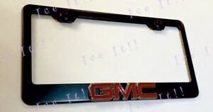 Denali Yukon GMC Red Black Stainless Steel License Plate Frame W// Bolt Caps